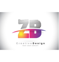Zb z b letter logo design with creative lines vector