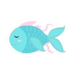 cute little fish icon flat cartoon style vector image vector image