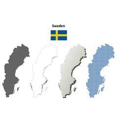 Sweden outline map set vector image vector image