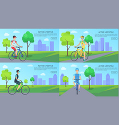 active lifestyle web pages set vector image