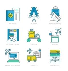 Airport linear elements set vector