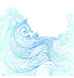 blue and dark blue decorative doodles waves vector image vector image