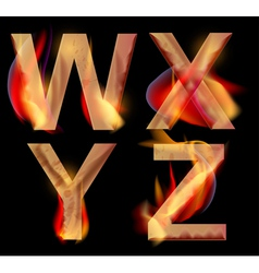 burning letters WXYZ vector image vector image
