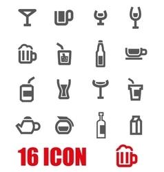 grey beverages icon set vector image vector image