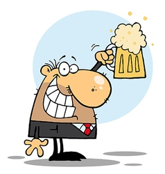 Happy BussinesMan Celebrating a Pint of Beer vector image