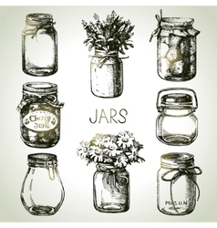 Rustic mason and canning jars hand drawn set vector