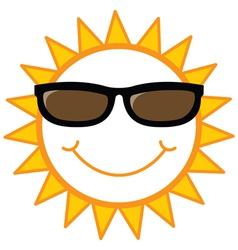 Smiley sun with sunglasses vector