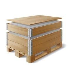 Wooden box with cargo on a pallet vector image