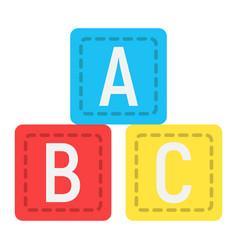 abc blocks flat icon alphabet cubes and education vector image