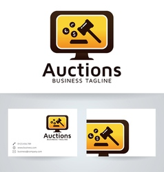 Auction logo with business card template vector