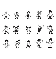 doodle kids icons vector image vector image