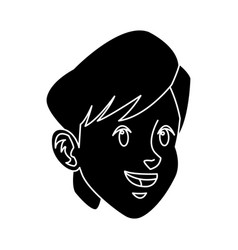 Head boy young facial expression silhouette vector
