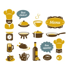 Kitchen and restaurant icons vector