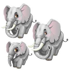 three cartoon elephant on white background vector image