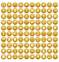 100 leisure icons set gold vector