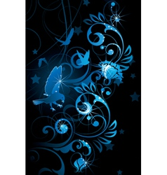 blue birds and vines vector image vector image