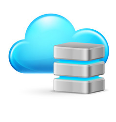 cloud computing and remote database on white vector image vector image