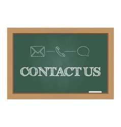 Contact us message on chalkboard vector image