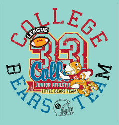 cute little bears football athletic team vector image vector image