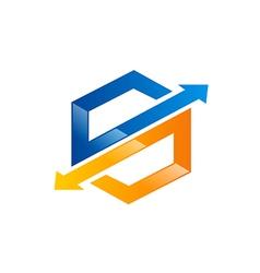 S arrow technology logo vector image