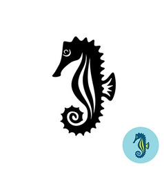 Sea horse elegance black silhouette logo with vector image vector image