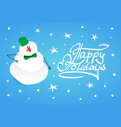 Snowman with green bucket and green bow tie vector