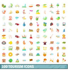 100 tourism icons set cartoon style vector