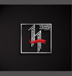 11 years anniversary logotype with square silver vector