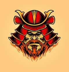a samurai mask shogun warrior helmet vector image