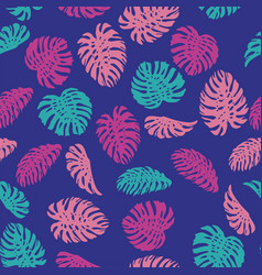 abstract color monstera seamless pattern blue vector image