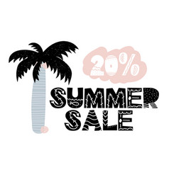 advert card with lettering 20 summer sale in vector image