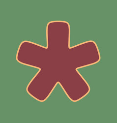 Asterisk star sign cordovan icon and vector