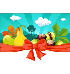 Autumn still life with fruit vegetables tree vector