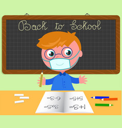 back to school boy with protection mask vector image