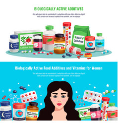 Biologically active additives banners vector