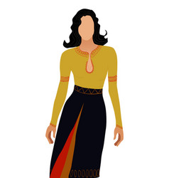 black haired woman with no face dressed in vector image