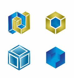 Blue cube logo design template set vector