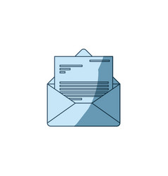 Blue shading silhouette of envelope mail opened vector