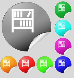 Bookshelf icon sign Set of eight multi colored vector