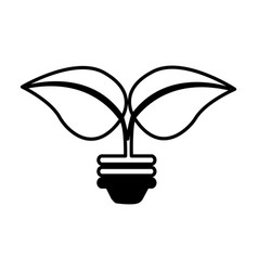 Bulb with leafs isolated icon vector