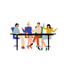 business people sitting at desk and discussing vector image