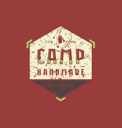 camping hexagonal emblem with rough texture vector image