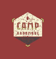 Camping hexagonal emblem with rough texture vector