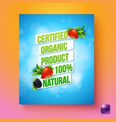 Certified organic product 100 percent natural card vector