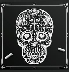 chalkboard day dead skull sketch draw vector image