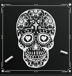 Chalkboard day of the dead skull sketch draw vector