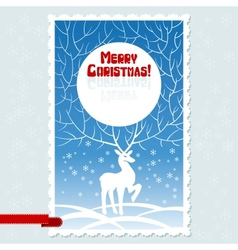 Christmas card with white stylized deer vector image