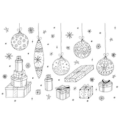 Christmas set Hand drawn gifts and xmas balls vector