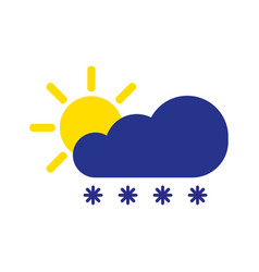 Cloud snow with sun symbol winter icon in flat vector