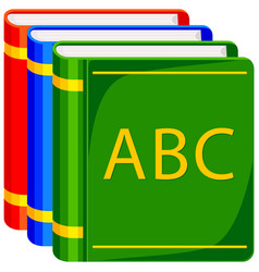Colorful cartoon icon poster abc book pile vector